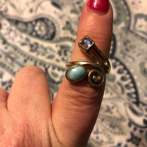 Larimar and moonstone ring size 8